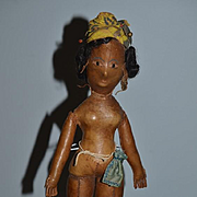 Antique Doll Rare Leather French Martinique Inset Eyes Hand Sewn Folk Art