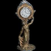 Antique Miniature Doll Dollhouse Art Nouveau Lady with Clock Metal Ornate