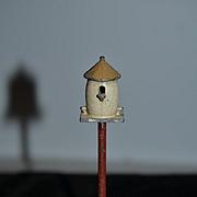 Old Doll Miniature Birdhouse Bird House Dollhouse Metal On Stand