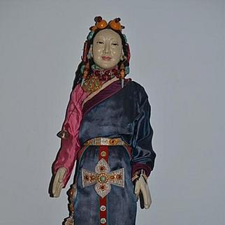 Old Doll Huge Papier Mache Oriental Doll Fancy Original Clothing Fancy Detail on Wood Stand Khama Doll