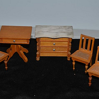 Old Doll Miniature Wood Dollhouse Furniture Marble Chest Table Cane Bottom Chairs