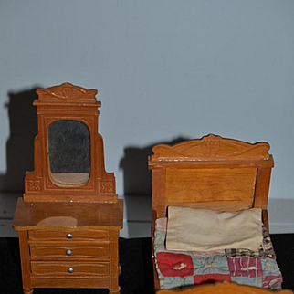 Old Doll Miniature Dollhouse Wood Furniture Fancy Bed W/ Old Quilt and Matching Chest W/ Mirror