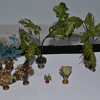 Old Doll Miniature Dollhouse French Beaded Flowers Potted Plants Lot Ornatae Gilt