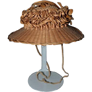 Antique Doll Straw Hat Detailed ORNATE For French Doll Hand Woven  Bonnet
