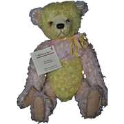 Wonderful Artist Teddy Bear Riffenberg By Artist Jane Monroe Multi Colored Mohair Jointed Lemon Twist W/ Tag