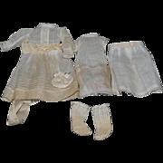 Antique French Doll Dress w/ Undergarments Stamped Eden BeBe Sweet Set Dress Socks Sweet Whole Lot