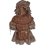 Wonderful Doll Dress W/ Bonnet Lace Very Fancy