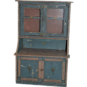 Antique Doll Folk Art Painted Wood Cupboard Cabinet Glass Doors