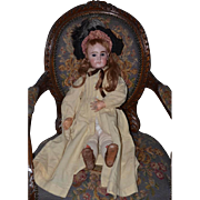 Antique French Doll Bisque French Jumeau Dressed Great Hat & Leather Shoes and Coat