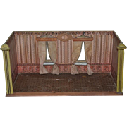 Antique Doll Petite Size Miniature Dollhouse Room Box Diorama Curtains and Glass Windows