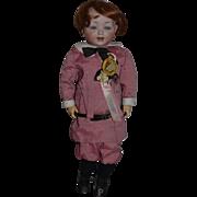 Antique Doll Bisque BUSTER BROWN W/ Old Button Pin 152 Toddler Hertel Schwab 11 Piece Toddler Body Rare