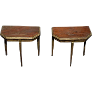 Old Wonderful Side Table For Dollhouse Miniature Solid Wood W/ Gold Paint Two Tables