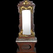 Wonderful Ormolu Mirror Front Hall Tree Pier Mirror Fancy with Marble Base