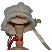 Vintage Doll Hat Pill Box Hat Bonnet with Fur and Flowers Charming Fashion Doll