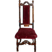 Old Miniature Wood Upholstered Fancy Chair For Doll Dollhouse