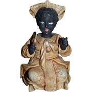 Old Wonderful Black Doll Figurine Nodder Bisque Blackamoor Gorgeous Wonderful Molded outfit Head Piece Miniature Black Americana