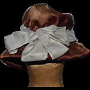 Old Silk Doll Hat Bonnet Floppy W/ Bow Wonderful French Doll LOVES this!