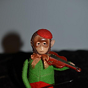 Wonderful Schuco Old Tin Key Wind Up Monkey Playing Violin WORKS! Windup Doll Mechanical Toys