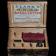 Wonderful Old Wood Spool Box W/ Thread Miniature Clark's O.N.T. Spool Cotton Doll Size Sweet Spool Holder pincushion Sewing