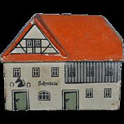 Wonderful Wood Block House Miniature Dollhouse Signed German Artist