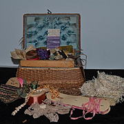 Old Wicker Sewing Basket FILLED Trim Lace Thimble Needles Buttons Old Pattern
