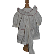 Old Doll Dress W/ Fancy Stitching Collar Pockets and Matching Belt