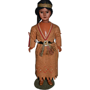 Antique Doll Indian Bisque Original Clothing Composition Body Teeth