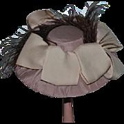 Wonderful Artist Doll Hat Bonnet Feathers Bows Gorgeous