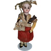 Old Doll Miniature Bisque French Market Original Clothing W/ All Bisque Doll