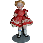 Antique Miniature All Bisque Doll Dollhouse Adorable Dressed For a Party! Jointed