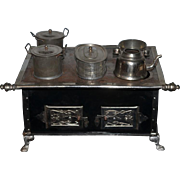 Wonderful Old Miniature Doll Stove Metal W/ Pots and Pans WORKS!! Old Tin Great Display Piece