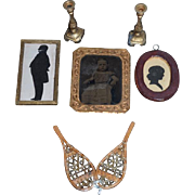 Old Doll Miniature Lot Tin Baby Photo In Gilt Frame Silhouette Pictures Framed Candle Sticks Old Wood Snow Shoes Dollhouse