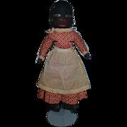 Old Black Doll Stockinette Rag Doll Folk Art Cloth Doll