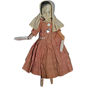 Old Wood Doll Grodnertal Doll Dressed Jointed  Sweet!! Carved