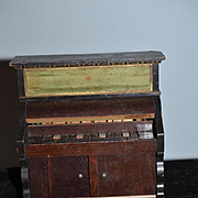 Old Doll Miniature Wood Unusual Piano W/ Cabinet Underneath Wonderful Detail Dollhouse