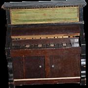Old Doll Miniature Wood Unusual Piano W/ Cabinet Underneath Wonderful Detail Dollhouse