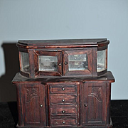 Wonderful Doll Early German Wood Carved Sideboard Cabinet W/ Glass Front Miniature Dollhouse