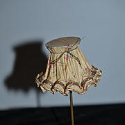 Old Doll Miniature Standing Lamp W/ Shade & Bulb Dollhouse