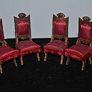 Old Doll Miniature Upholstered Chairs For Dollhouse Fancy Wood and Fringe Set