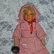 Antique Doll Oil Cloth Doll Jointed Wonderful Rag Doll Folk Art