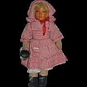 Antique Doll Oil Cloth Doll Jointed Wonderful Rag Doll Folk Art