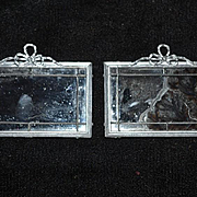 Two Old Miniature Doll Dollhouse Mirrors For Wall Fancy Metal Frame Matching W/ Bows