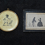 Old Doll Framed Sillhouette  Silhouette Tynietoy Two Pictures Wood Frame Metal Frame Dollhouse Miniature