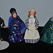 Wonderful old Dollhouse Doll Set Four Dolls Miniature Maid Butler and Two Ladies