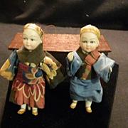 Antique Miniature Bisque Doll House Original Clothing Unusual Dolls Set