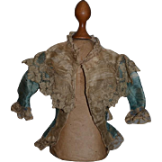 Antique Doll Fancy French Market Silk Jacket Lace Gorgeous Top