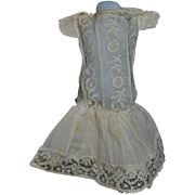 Antique Doll Dress Lace Drop Waist Sweet Cotton