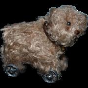 Artist Doll Miniature Dollhouse Teddy Bear Pull Toy Metal Wheels Signed #1 ELVA Pull Toy