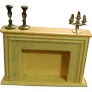 Vintage Miniature Fireplace W/ Candelabra & Candle Sticks Doll House