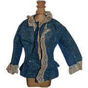 Antique Doll Shirt Jacket Lace Trim Linen